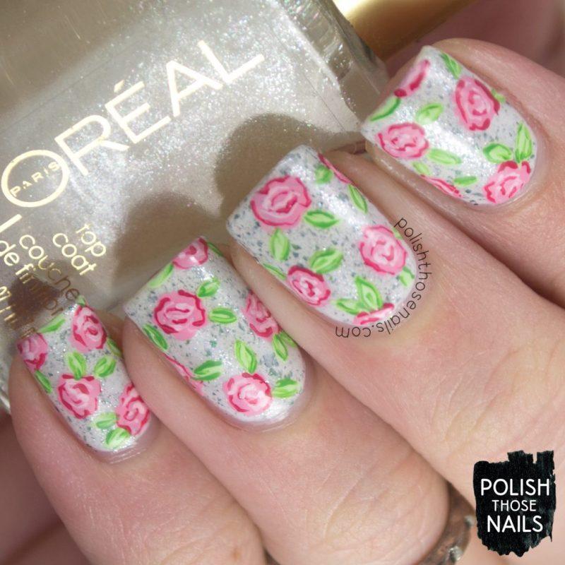 nails, nail art, nail polish, indie polish, fitbit inspiration, roses, flowers, polish those nails, indie polish