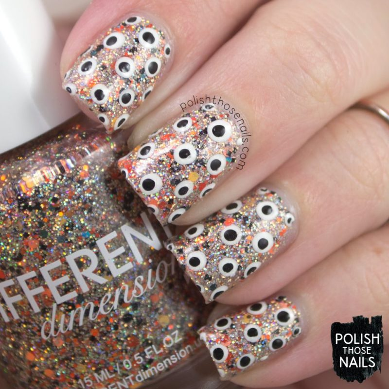 polka dots, nail art, dream within a dream, silver, holo, orange, different dimension, indie polish, polish those nails, glitter
