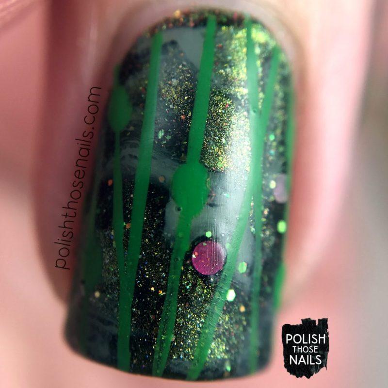 nails, nail art, nail polish, green, indie polish, lines, polish those nails, macro