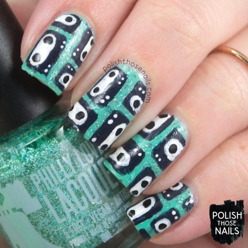 nails, nail art, nail polish, indie polish, turquoise, casette tape, polish those nails