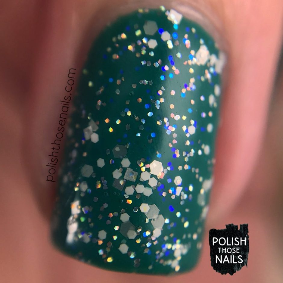 blizzard, teal, nails, nail polish, different dimension, glitter, polish those nails, indie polish, swatch, macro