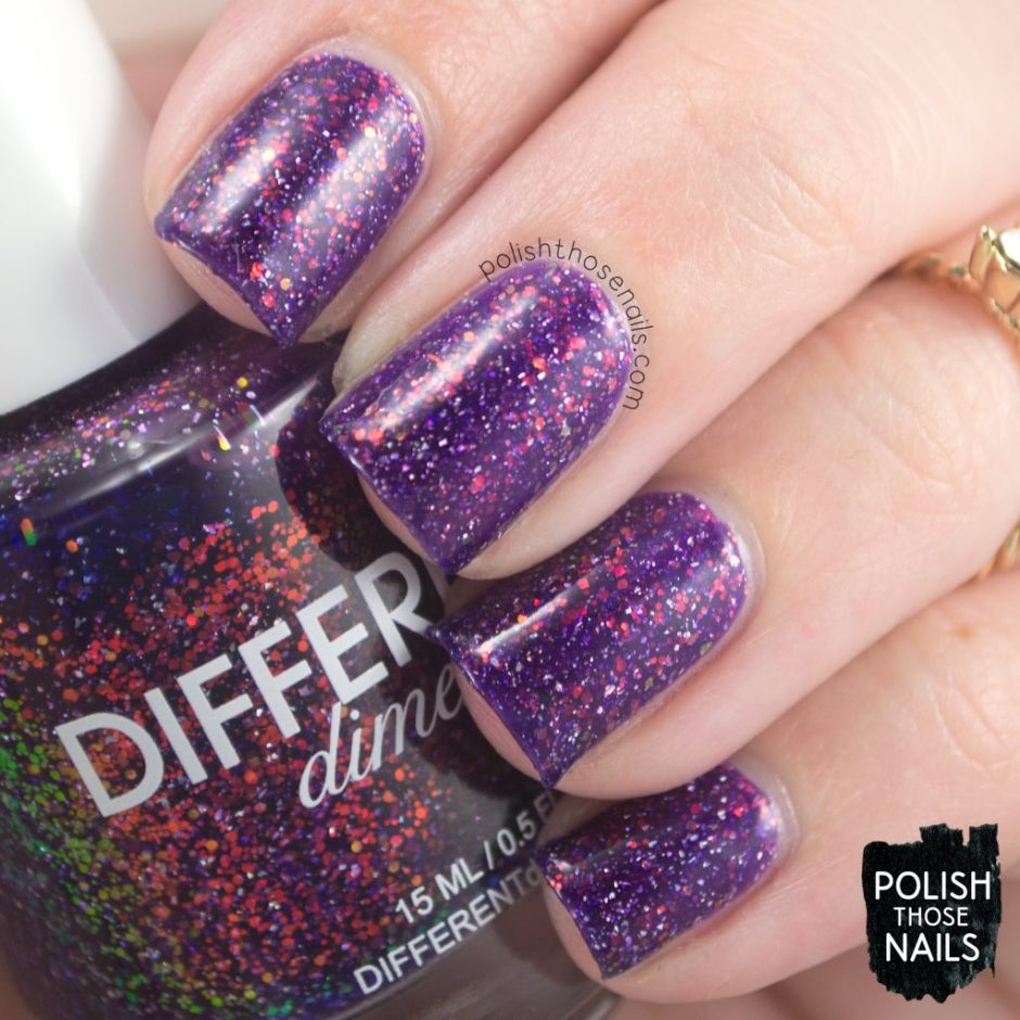 butterfly nebula, purple, nails, nail polish, indie polish, different dimension, polish those nails, glitter jelly, swatch