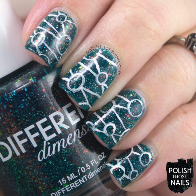 helix nebula, teal, nails, nail polish, indie polish, different dimension, polish those nails, glitter jelly, nail art, pattern