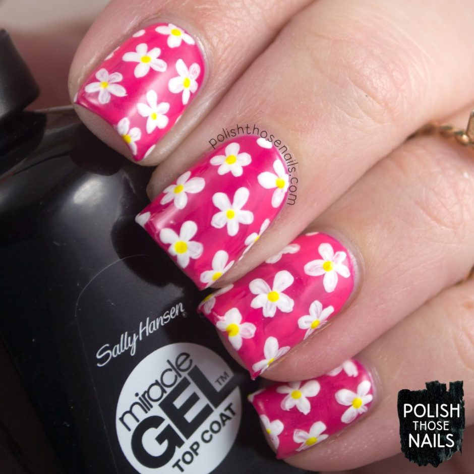 nails, nail art, nail polish, smoosh, sally hansen, flowers, floral, pink