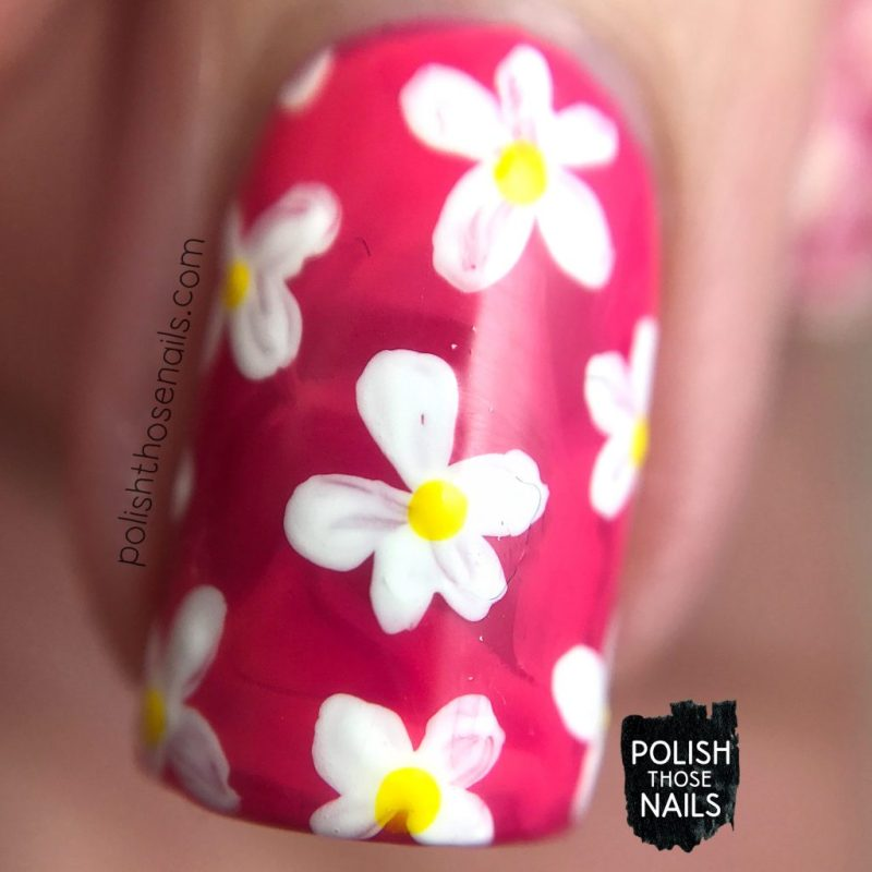 nails, nail art, nail polish, smoosh, sally hansen, flowers, floral, pink, macro