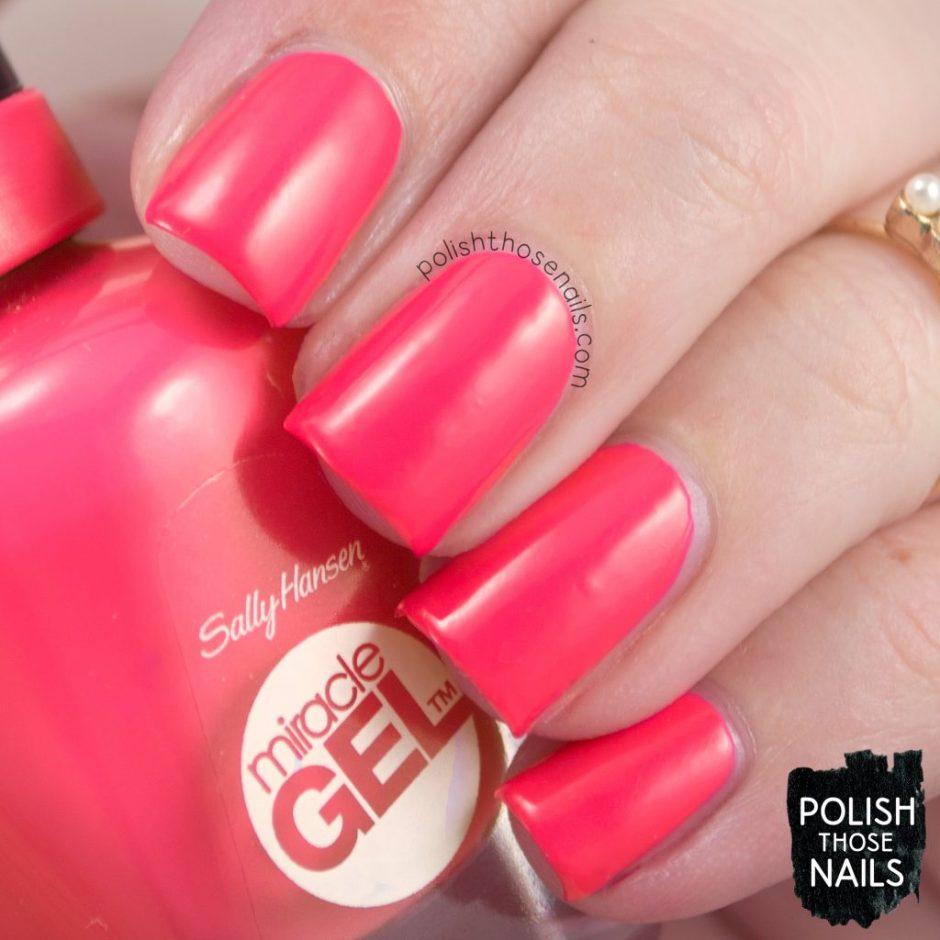 swatch, electric pop, coral, nails, nail polish, polish those nails, sally hansen, bright,