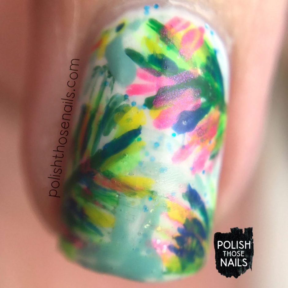 nails, nail art, nail polish, rainforest, leaves, bright, polish those nails, macro