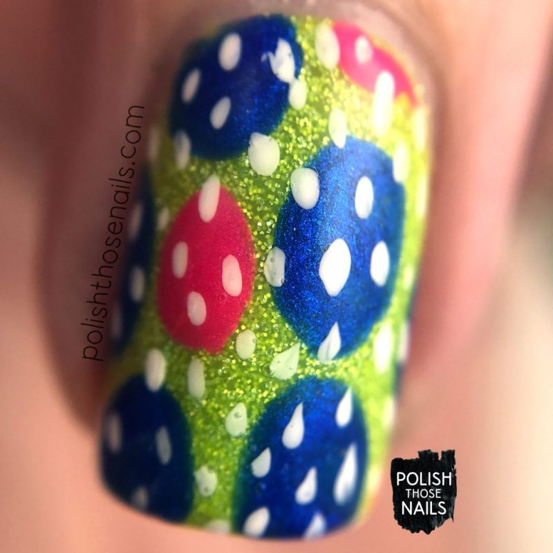 nails, nail art, nail polish, neon, polka dots, polish those nails, macro