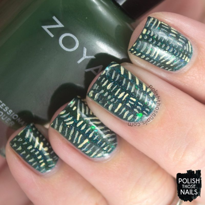 nails, nail art, nail polish, green, indie polish, pattern, line work