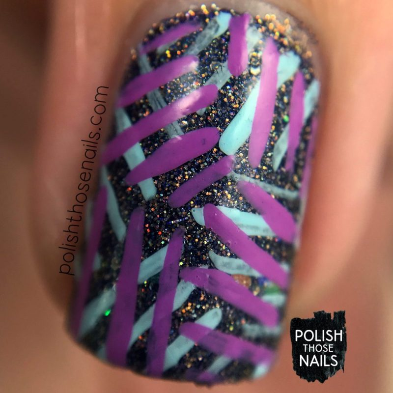 nails, nail art, nail polish, purple, indie polish, polish those nails, line art, pattern, macro