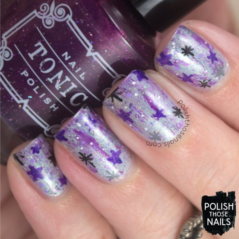 nails, nail art, nail polish, starry night, polish those nails, purple, indie polish, pattern
