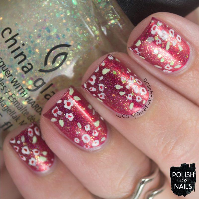 nails, nail art, nail polish, indie polish, red, holo, florals, flowers, polish those nails