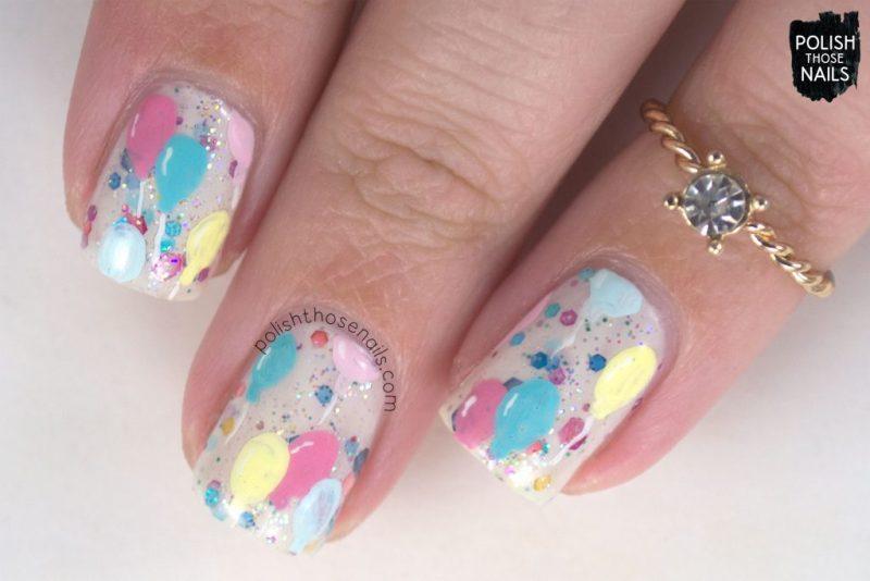 nails, nail polish, nail art, balloons, indie polish, polish those nails, glitter crelly