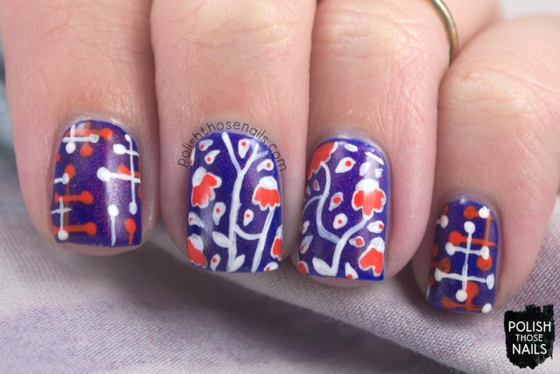nails, nail art, nail polish, florals, flowers, polish those nails, indie polish, pattern, throwback