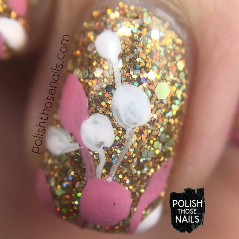 nails, nail art, nail polish, gold, glitter, polish those nails, pink, florals, macro