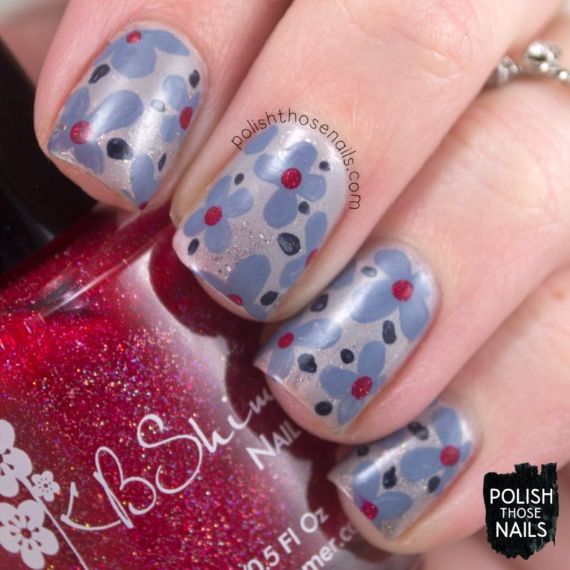 Florals Smooshed In The Grey Polish Those Nails