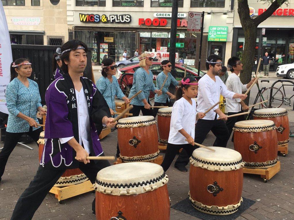 Tatsu Aoki's Tsukasa Taiko drum corps, July 25, 2017.