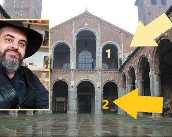 Milano esoterica, dettagli a Sant'Ambrogio. Nel riquadro Luca Fassina