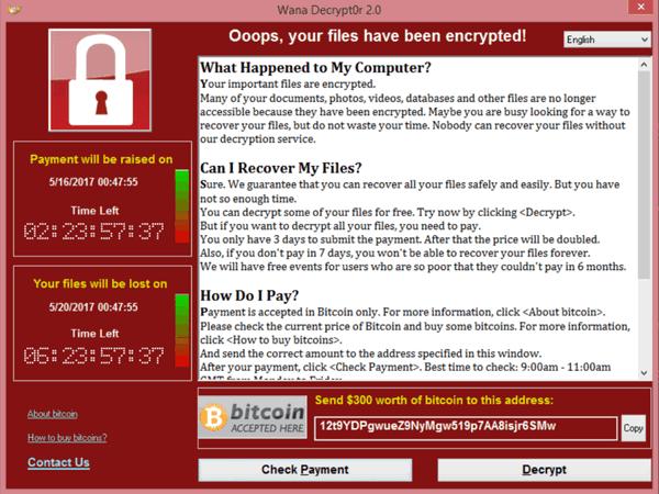 Блокировка компьютера вирусом WannaCry