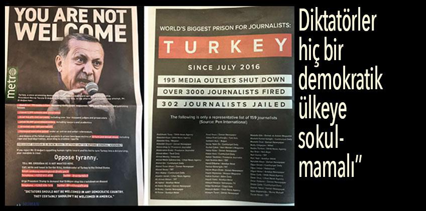 New York Metro Gazetesi 'Erdoğan Dışarı' Manşeti ile çıktı