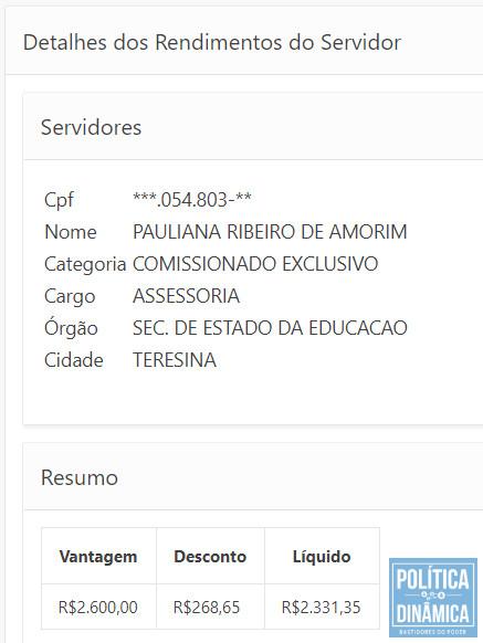 O salário que Pauliana recebeu durante os meses em que sua casa era reformada não para pagar a conta do granito usado na obra (imagem: portal da transparência do Piauí)