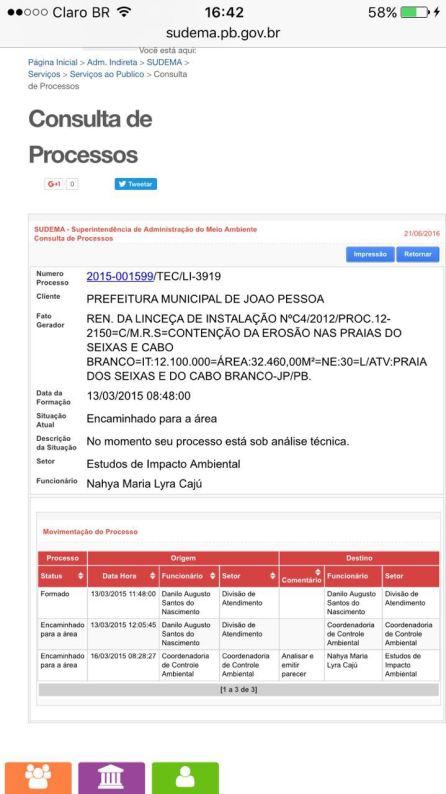 Página de consulta processual da Sudema, mostrando que o processo tá parado desde março de 2015.