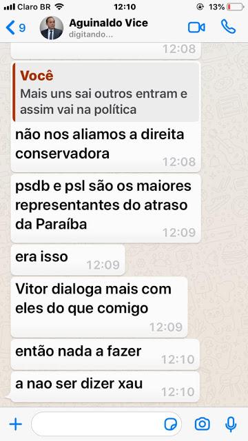 01 - RACHA: Vice rompe com prefeito em Cabedelo e conversas no Whatsapp vazam