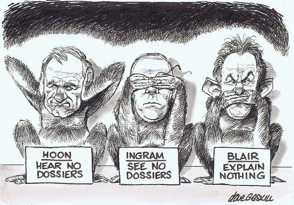 Cartoon on Britain's Blair government, including Geoff Hoon, starting war in Iraq based on lies; cartoon by Dave Gaskill