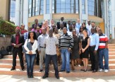 group photo at the USIU library