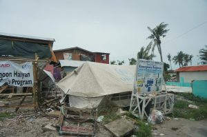 Disaster area with destroyed buildings