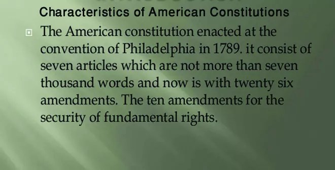Characteristics of American Constitutions