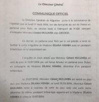 Le communiqué du DG de la DGM
