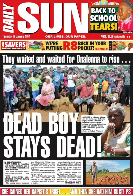 Dead Boy Stays Dead – Trainee Sangoma Doesn't Come Back To