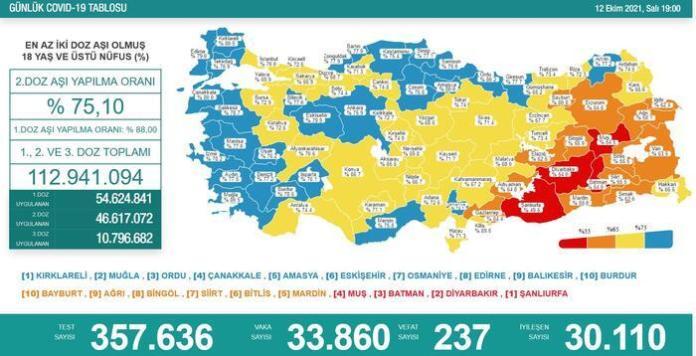 Türkiye'de koronavirüs nedeniyle son 24 saatte 237 kişi hayatını kaybetti, tespit edilen vaka sayısı 33 bin 860 oldu