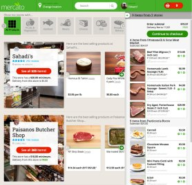 Marketplace listings, with slide-out shopping basket