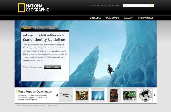 National Geographic Brand Portal Hompage