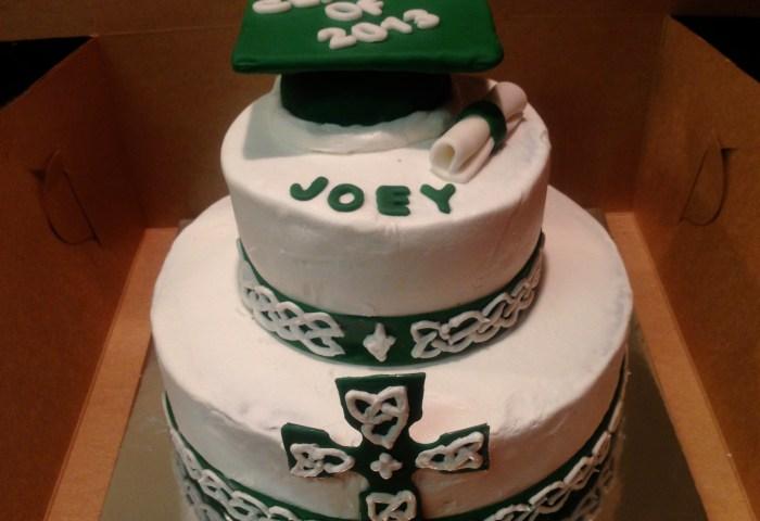 Celtic Cross Graduation Cake Polka Dot Apron Sweets