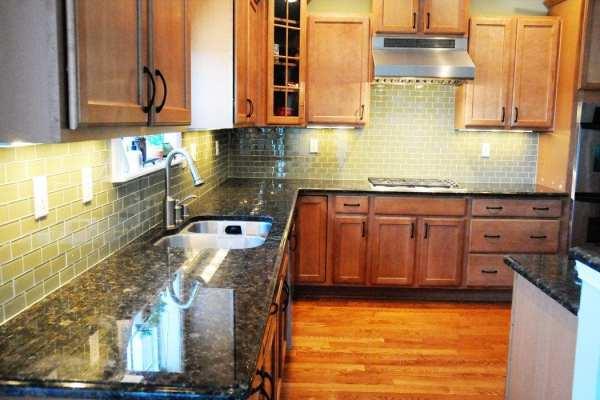 green glass tile kitchen backsplash Green Glass Tile Kitchen Backsplash - The Polkadot Chair