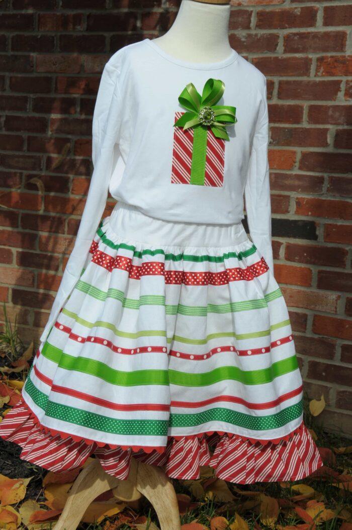 Ribbon Skirt Sewing Tutorial Embellished TShirt Tutorial Christmas