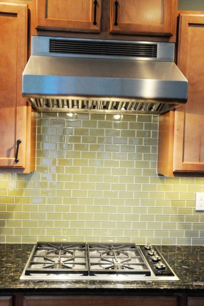 green glass tile kitchen backsplash Simple Kitchen Updates on the Polka Dot Chair Blog