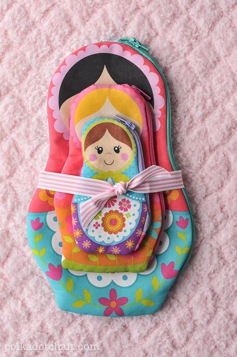 Nesting Dolls Zip Pouches a Matryoshka Doll Pattern