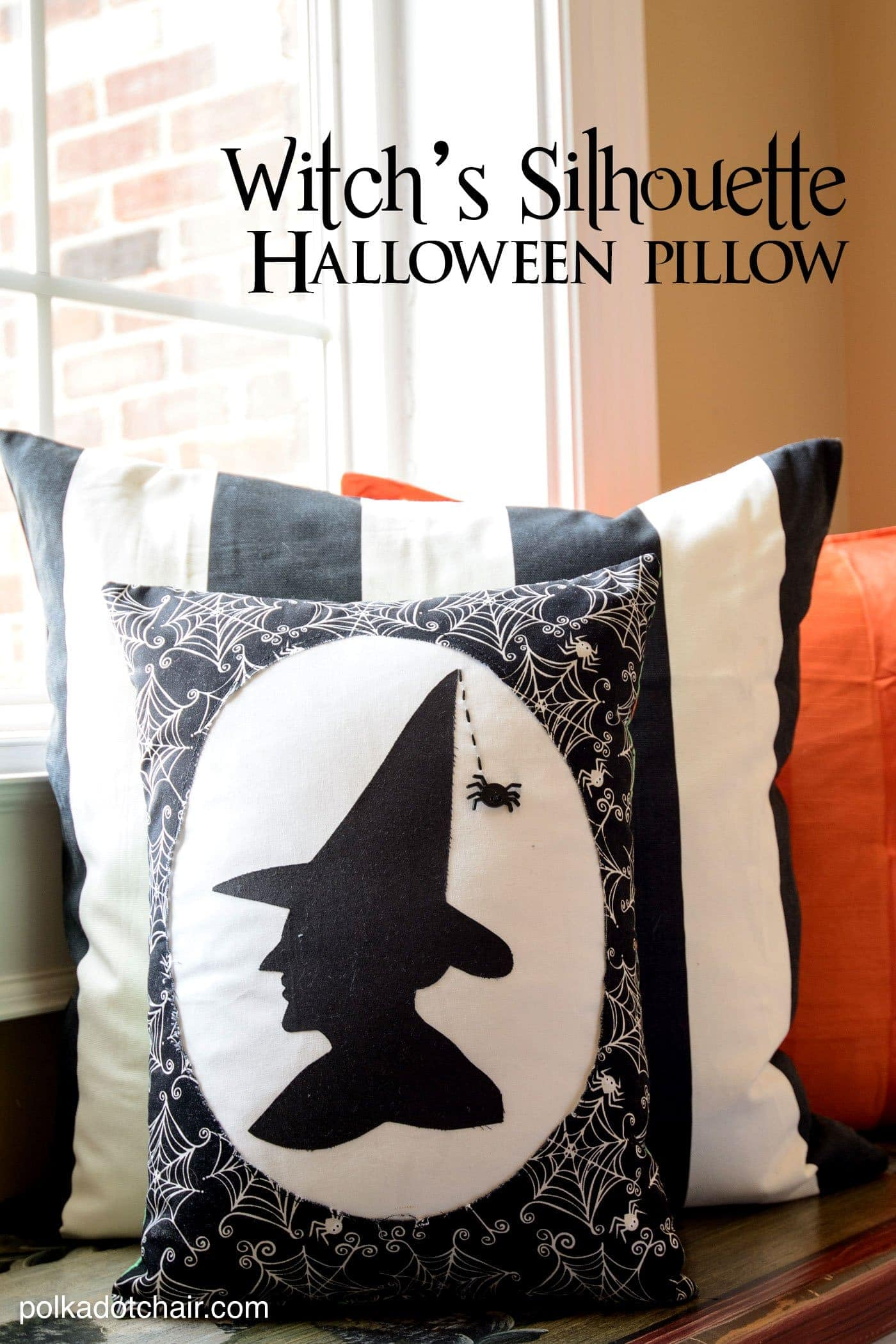 Witchs Silhouette Halloween Pillow Free Sewing Pattern
