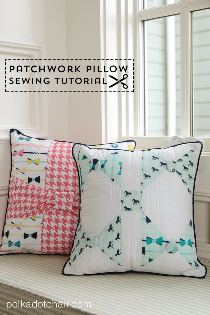 Bow Tie Patchwork Pillow with Derby Style Fabric