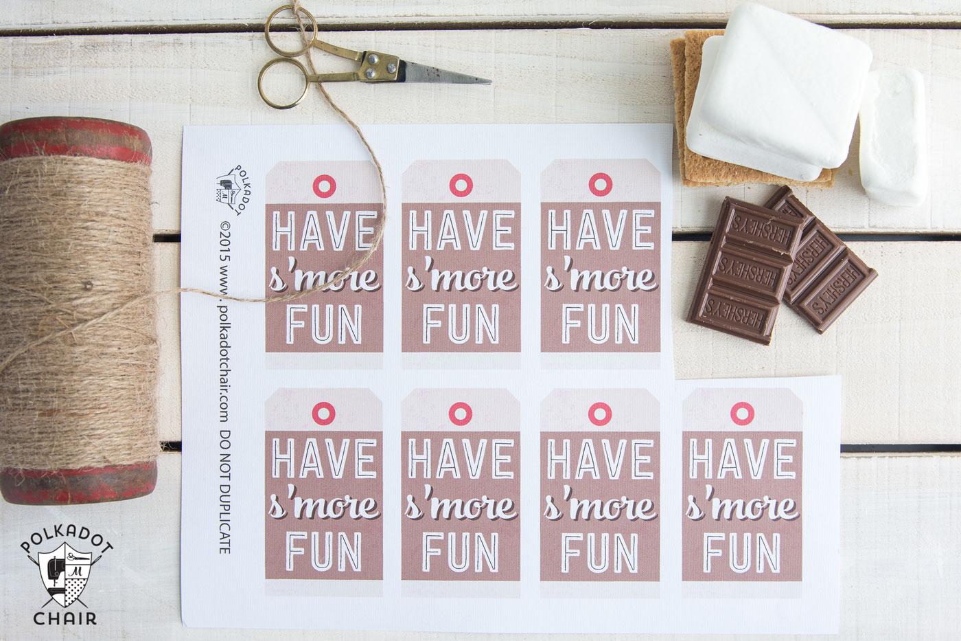 SMores Mason Jar Gift Idea  Gift Tag