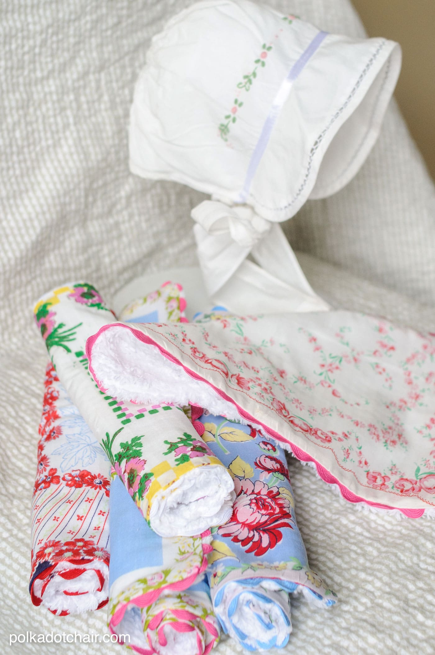 Tutorial for Baby Burp Cloths made from Vintage Handkerchiefs
