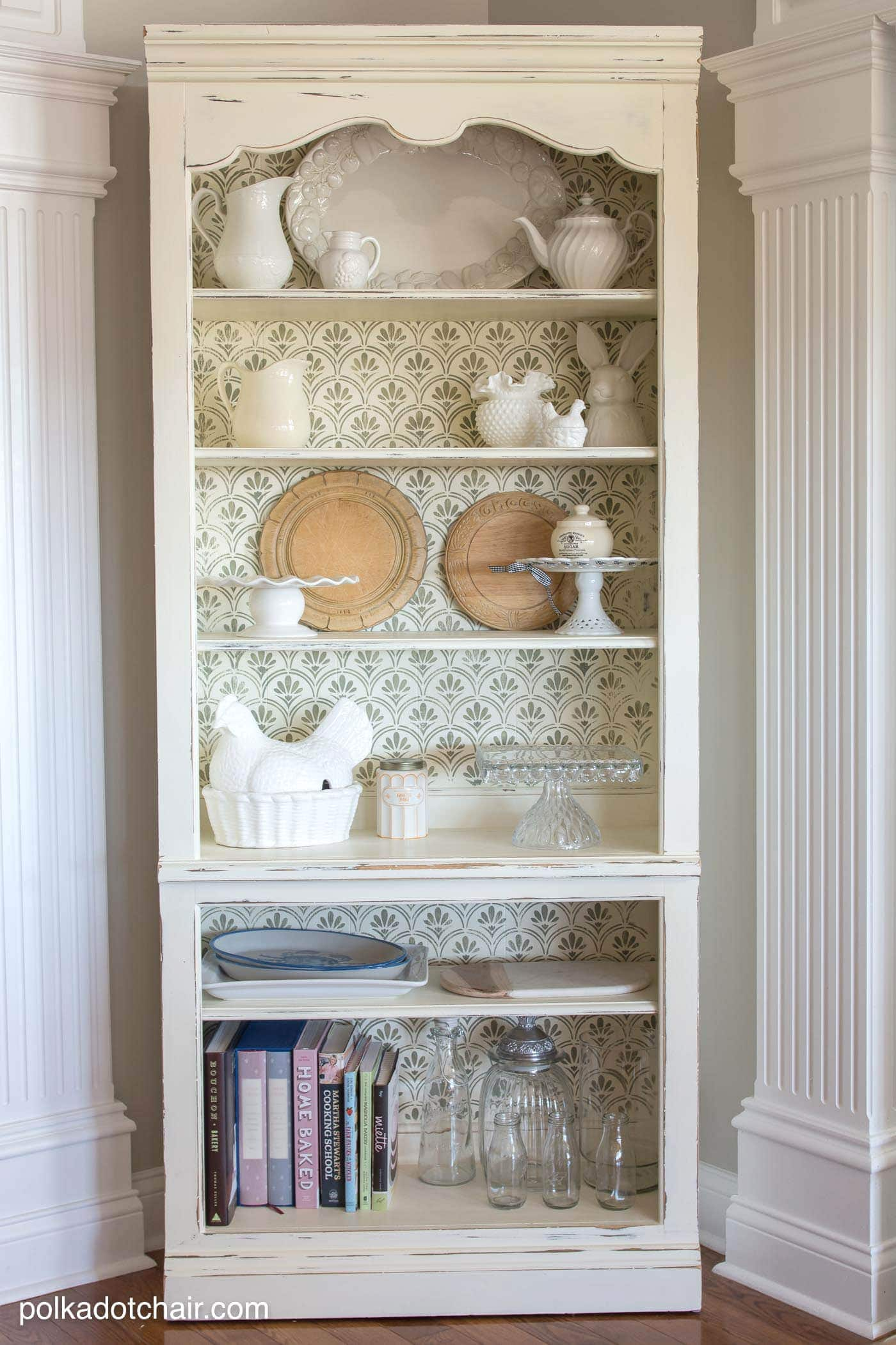 DIY Stenciled Bookcase  Giveaway