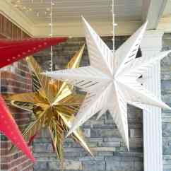 Hanging Chair Stand Outdoor Ceiling Star Lanterns; A Christmas Front Porch Decorating Idea - The Polka Dot
