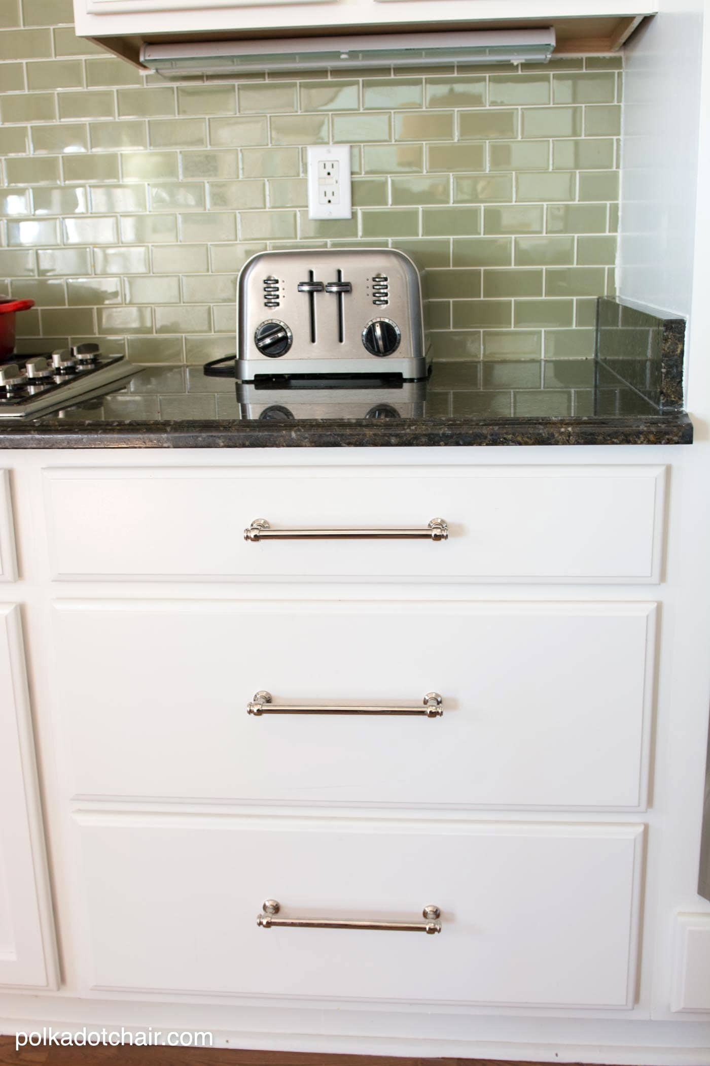 white kitchen cabinets ideas nook tables painted cabinet and makeover reveal the green tile backsplash before after photos of a that had it s