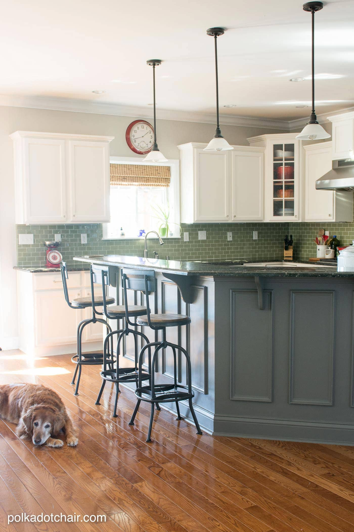 kitchen refinishing ideas green appliances painted cabinet and makeover reveal the before after photos of a that had it s cabinets white lots