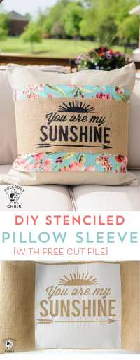 DIY Stenciled Burlap Pillow Sleeve Tutorial (with free cut ...